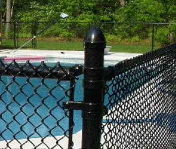 Black Vinyl-Coated Chain Link Wire Fence
